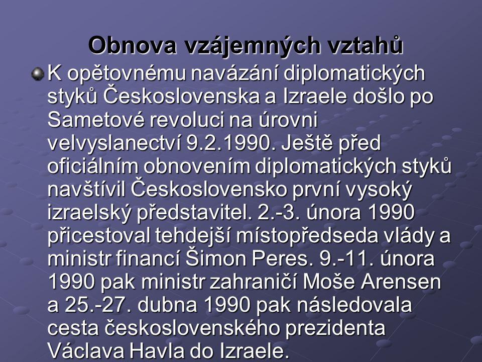 Obnova vzájemných vztahů K opětovnému navázání diplomatických styků Československa a Izraele došlo po Sametové revoluci na úrovni velvyslanectví 9.2.1990.