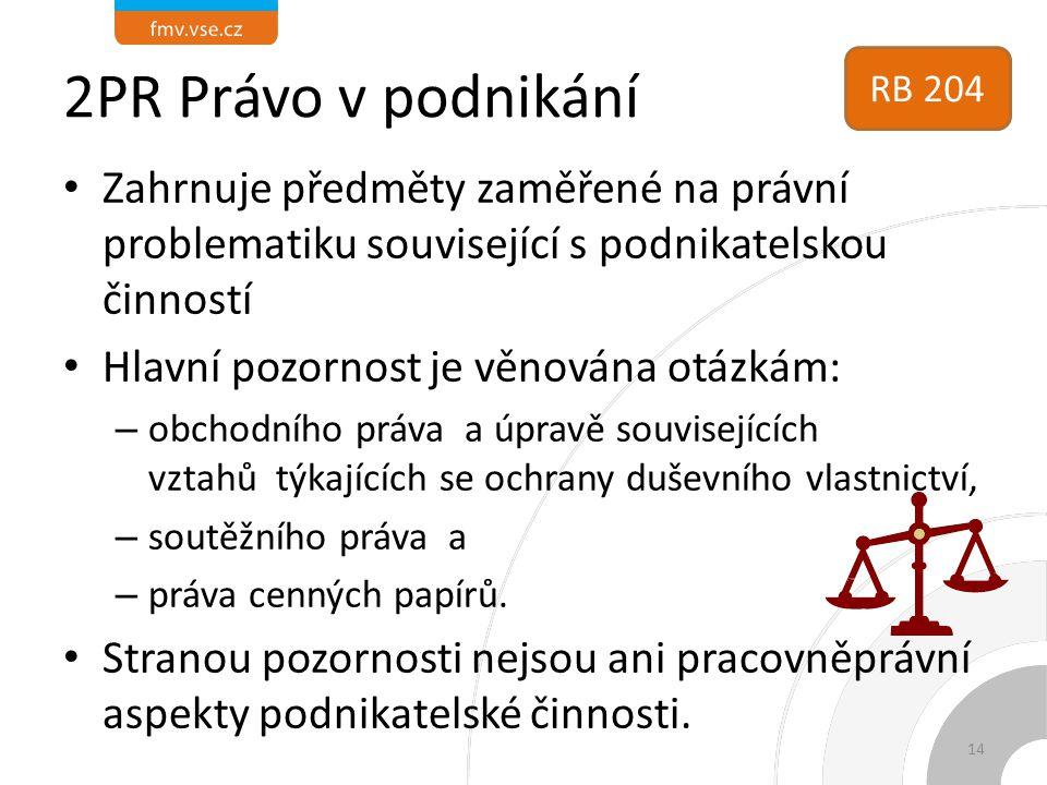 2PR Právo v podnikání Zahrnuje předměty zaměřené na právní problematiku související s podnikatelskou činností Hlavní pozornost je věnována otázkám: –