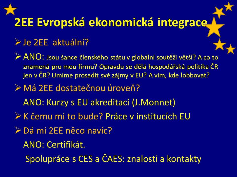 2EE Evropská ekonomická integrace  Je 2EE aktuální?  ANO: Jsou šance členského státu v globální soutěži větší? A co to znamená pro mou firmu? Opravd