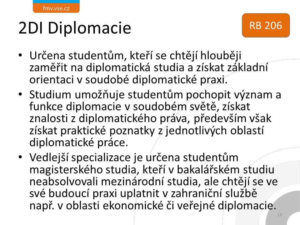 2DI Diplomacie Určena studentům, kteří se chtějí hlouběji zaměřit na diplomatická studia a získat základní orientaci v soudobé diplomatické praxi. Stu