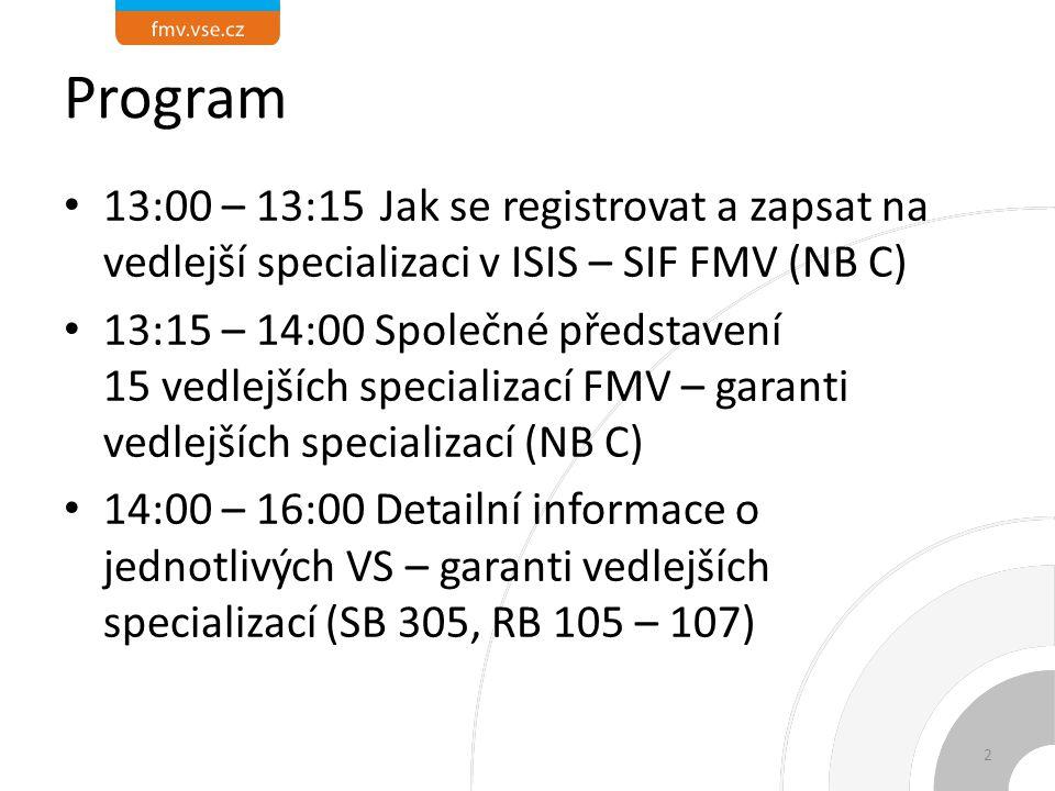 Program 13:00 – 13:15Jak se registrovat a zapsat na vedlejší specializaci v ISIS – SIF FMV (NB C) 13:15 – 14:00 Společné představení 15 vedlejších specializací FMV – garanti vedlejších specializací (NB C) 14:00 – 16:00 Detailní informace o jednotlivých VS – garanti vedlejších specializací (SB 305, RB 105 – 107) 2