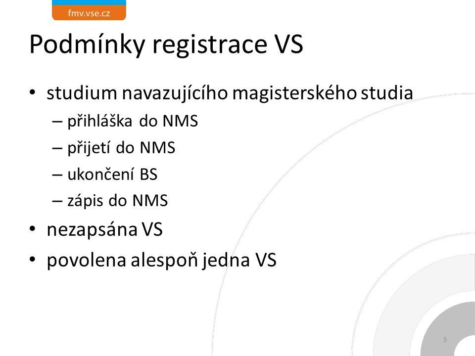 Podmínky registrace VS studium navazujícího magisterského studia – přihláška do NMS – přijetí do NMS – ukončení BS – zápis do NMS nezapsána VS povolena alespoň jedna VS 3