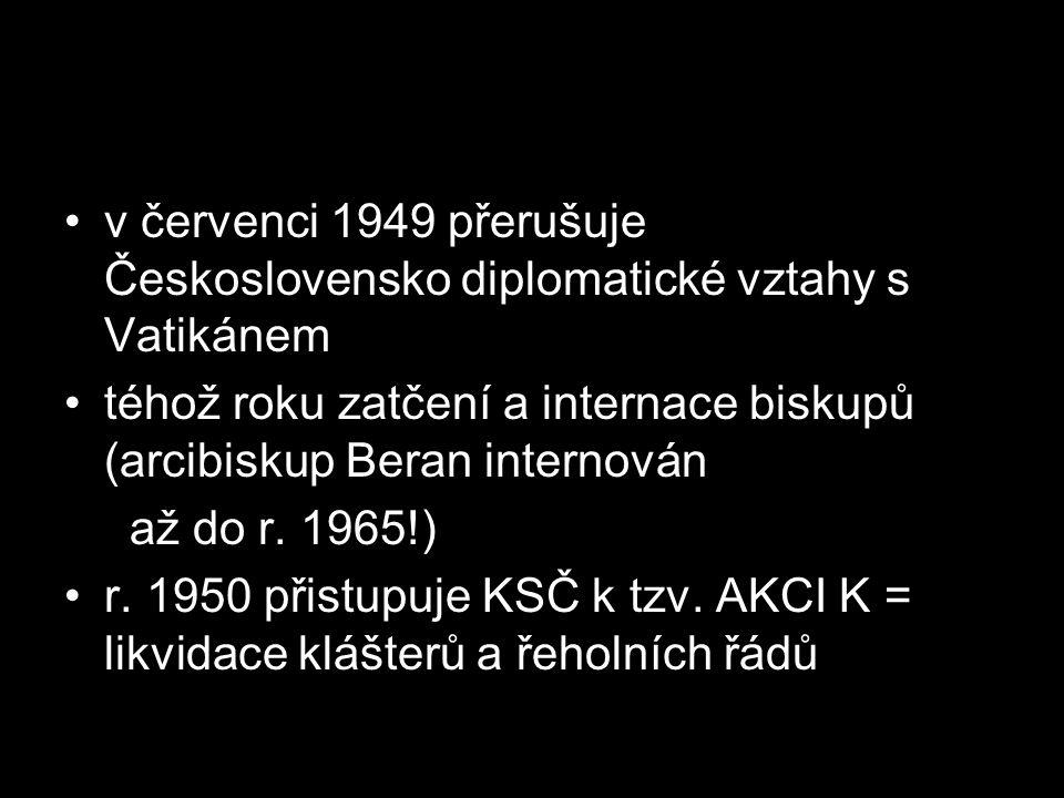 v červenci 1949 přerušuje Československo diplomatické vztahy s Vatikánem téhož roku zatčení a internace biskupů (arcibiskup Beran internován až do r.