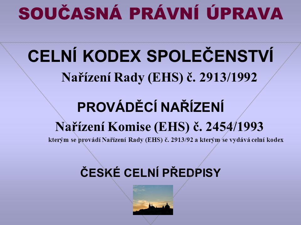 SOUČASNÁ PRÁVNÍ ÚPRAVA CELNÍ KODEX SPOLEČENSTVÍ Nařízení Rady (EHS) č.