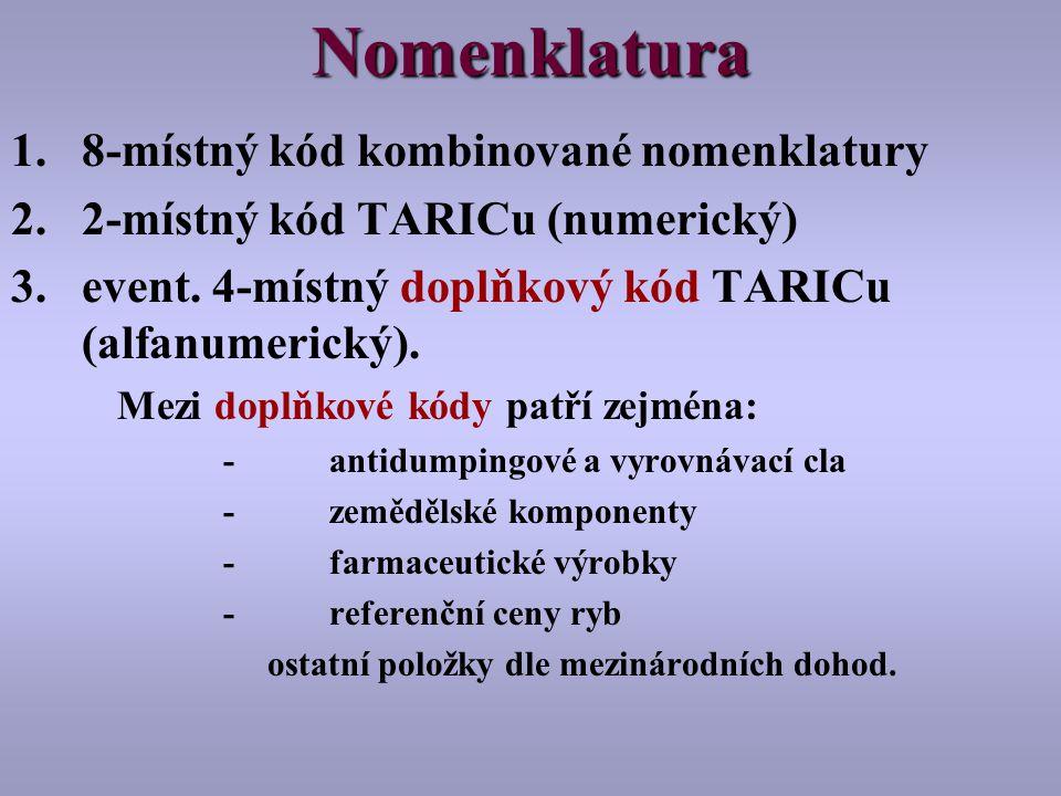 Nomenklatura 1.8-místný kód kombinované nomenklatury 2.2-místný kód TARICu (numerický) 3.event.