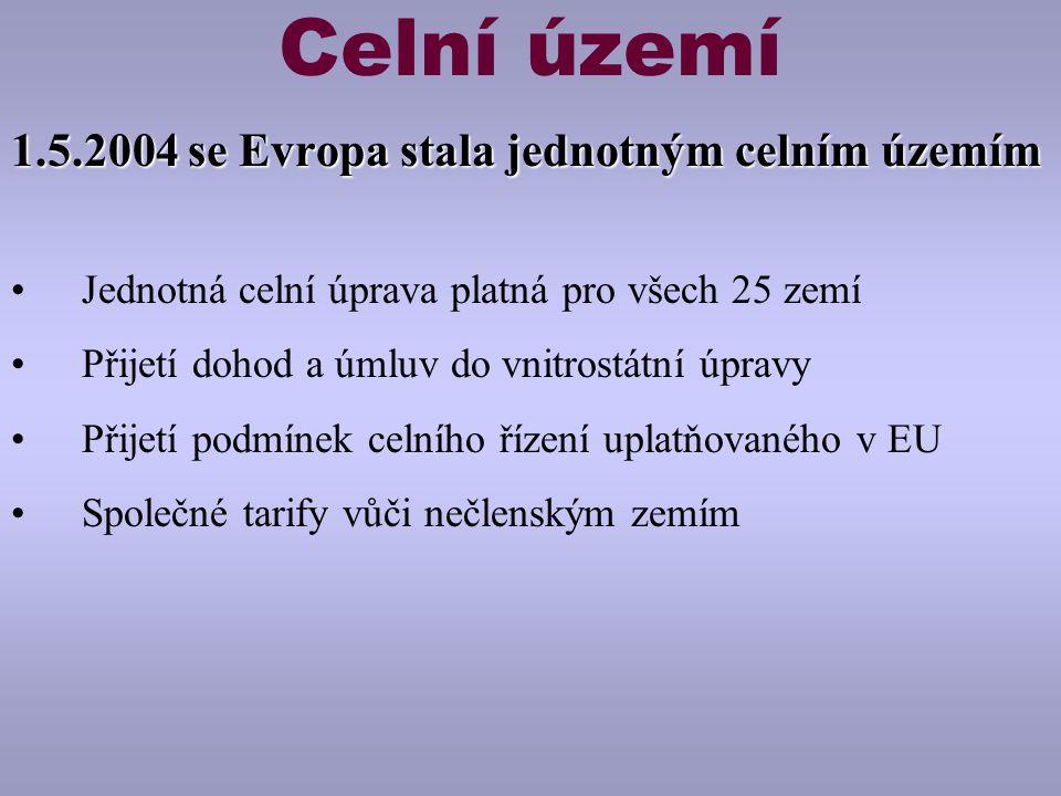 Celní území 1.5.2004 se Evropa stala jednotným celním územím Jednotná celní úprava platná pro všech 25 zemí Přijetí dohod a úmluv do vnitrostátní úpravy Přijetí podmínek celního řízení uplatňovaného v EU Společné tarify vůči nečlenským zemím