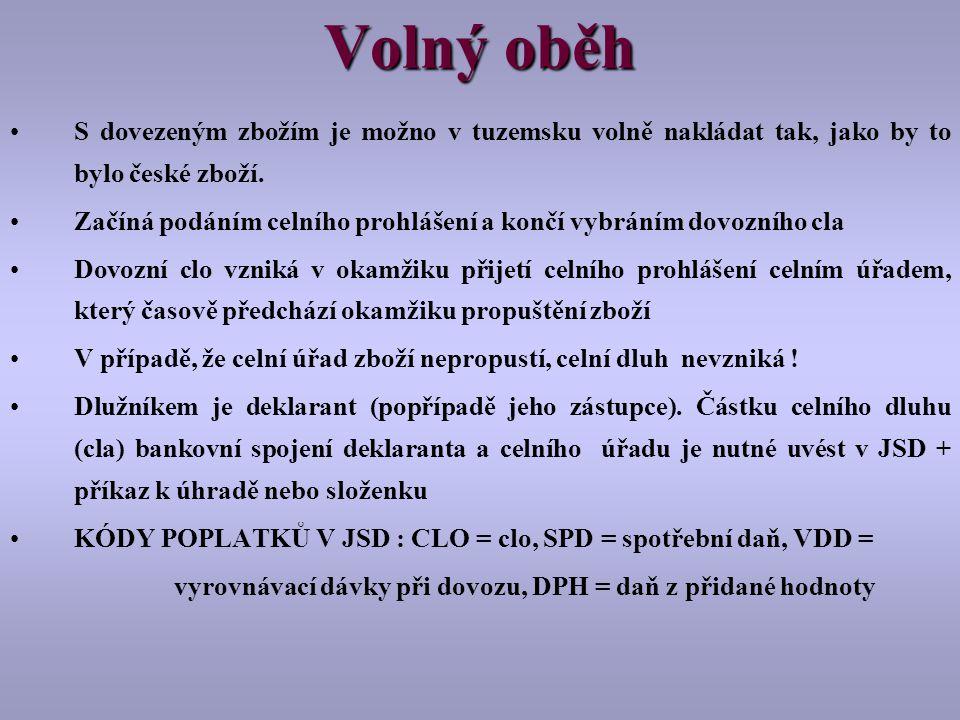 Volný oběh S dovezeným zbožím je možno v tuzemsku volně nakládat tak, jako by to bylo české zboží.