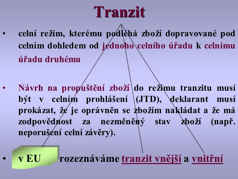 Tranzit celní režim, kterému podléhá zboží dopravované pod celním dohledem od jednoho celního úřadu k celnímu úřadu druhému Návrh na propuštění zboží do režimu tranzitu musí být v celním prohlášení (JTD), deklarant musí prokázat, že je oprávněn se zbožím nakládat a že má zodpovědnost za nezměněný stav zboží (např.