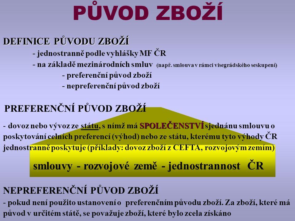PŮVOD ZBOŽÍ DEFINICE PŮVODU ZBOŽÍ - jednostranně podle vyhlášky MF ČR - na základě mezinárodních smluv (např.