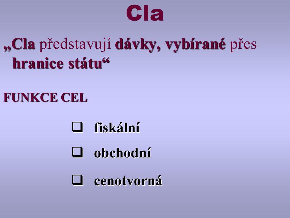"""Cla """"Cla dávky, vybírané hranice státu """"Cla představují dávky, vybírané přes hranice státu FUNKCE CEL  fiskální  obchodní  cenotvorná"""