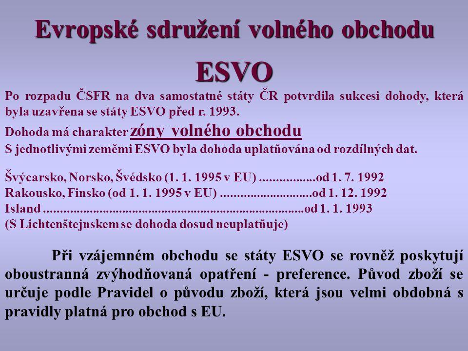 ESVO Po rozpadu ČSFR na dva samostatné státy ČR potvrdila sukcesi dohody, která byla uzavřena se státy ESVO před r.