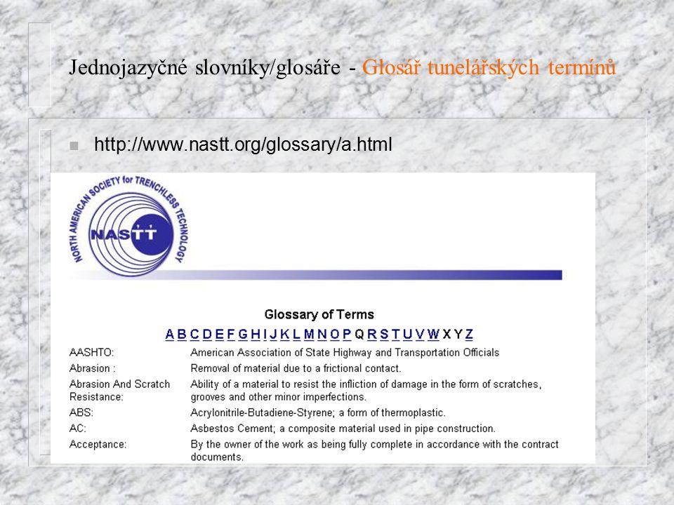 Jednojazyčné slovníky/glosáře - Glosář tunelářských termínů http://www.nastt.org/glossary/a.html