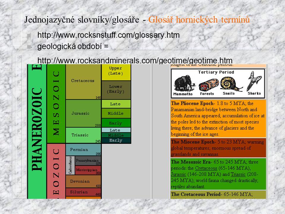 Jednojazyčné slovníky/glosáře - Glosář hornických termínů n http://www.rocksnstuff.com/glossary.htm n geologická období = http://www.rocksandminerals.com/geotime/geotime.htm