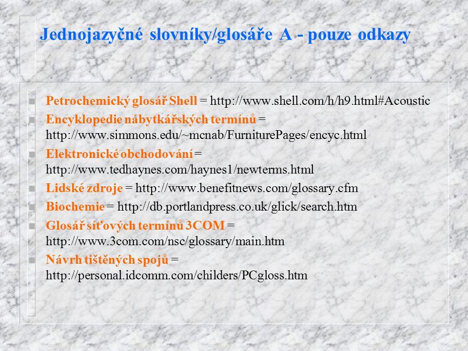Jednojazyčné slovníky/glosáře A - pouze odkazy n Petrochemický glosář Shell = http://www.shell.com/h/h9.html#Acoustic n Encyklopedie nábytkářských ter