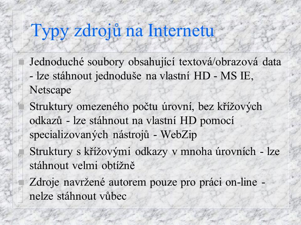 Typy zdrojů na Internetu n Jednoduché soubory obsahující textová/obrazová data - lze stáhnout jednoduše na vlastní HD - MS IE, Netscape n Struktury om
