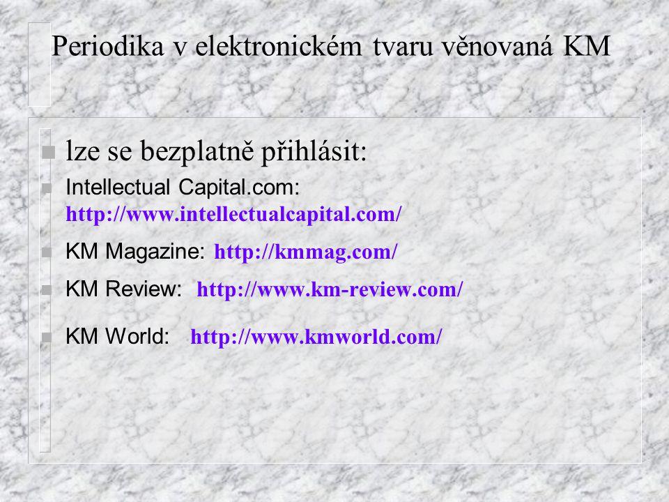 Periodika v elektronickém tvaru věnovaná KM n lze se bezplatně přihlásit: Intellectual Capital.com: http://www.intellectualcapital.com/ KM Magazine: http://kmmag.com/ KM Review: http://www.km-review.com/ KM World: http://www.kmworld.com/