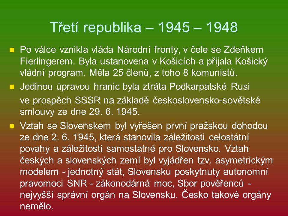 Třetí republika – 1945 – 1948 Po válce vznikla vláda Národní fronty, v čele se Zdeňkem Fierlingerem. Byla ustanovena v Košicích a přijala Košický vlád