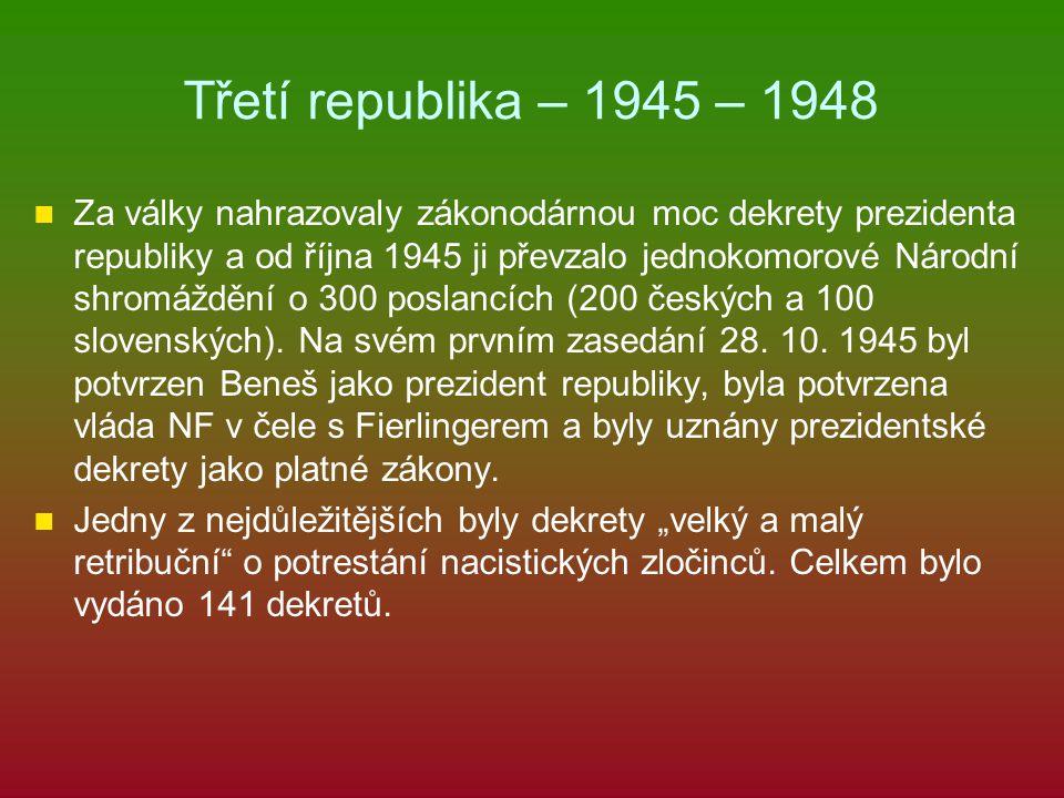 Třetí republika – 1945 – 1948 Za války nahrazovaly zákonodárnou moc dekrety prezidenta republiky a od října 1945 ji převzalo jednokomorové Národní shr