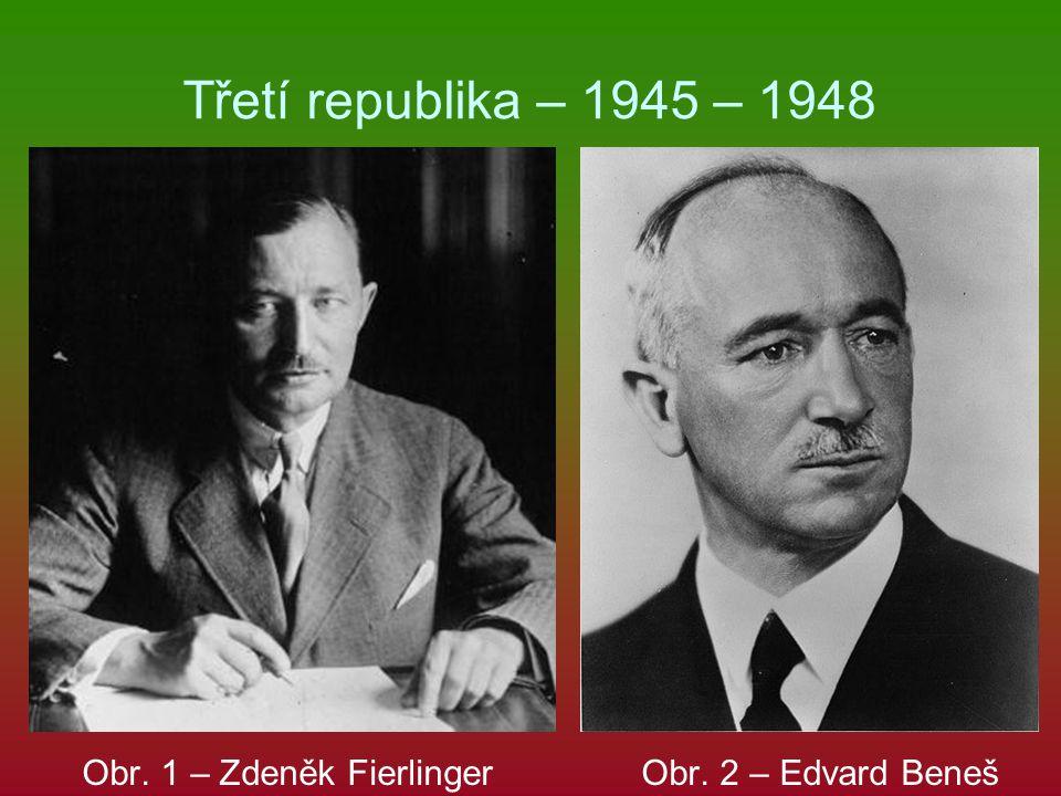 Třetí republika – 1945 – 1948 Obr. 1 – Zdeněk Fierlinger Obr. 2 – Edvard Beneš