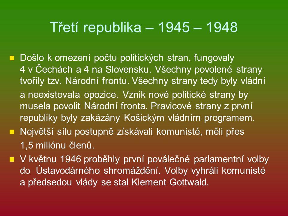 Třetí republika – 1945 – 1948 Došlo k omezení počtu politických stran, fungovaly 4 v Čechách a 4 na Slovensku. Všechny povolené strany tvořily tzv. Ná