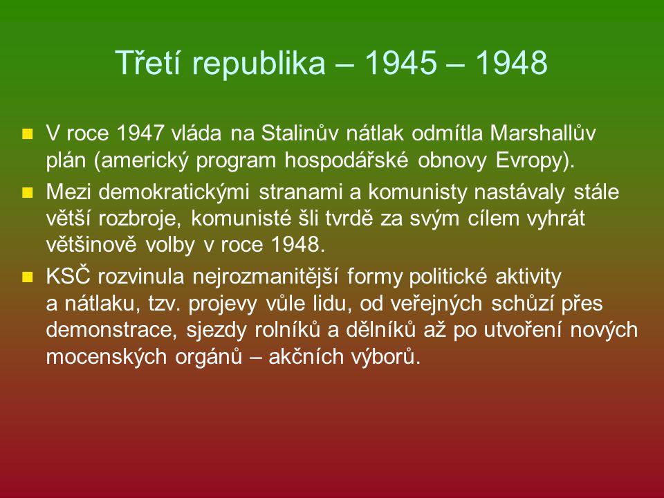 Třetí republika – 1945 – 1948 V roce 1947 vláda na Stalinův nátlak odmítla Marshallův plán (americký program hospodářské obnovy Evropy). Mezi demokrat