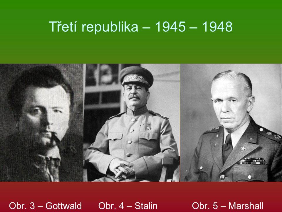 Třetí republika – 1945 – 1948 Obr. 3 – Gottwald Obr. 4 – Stalin Obr. 5 – Marshall