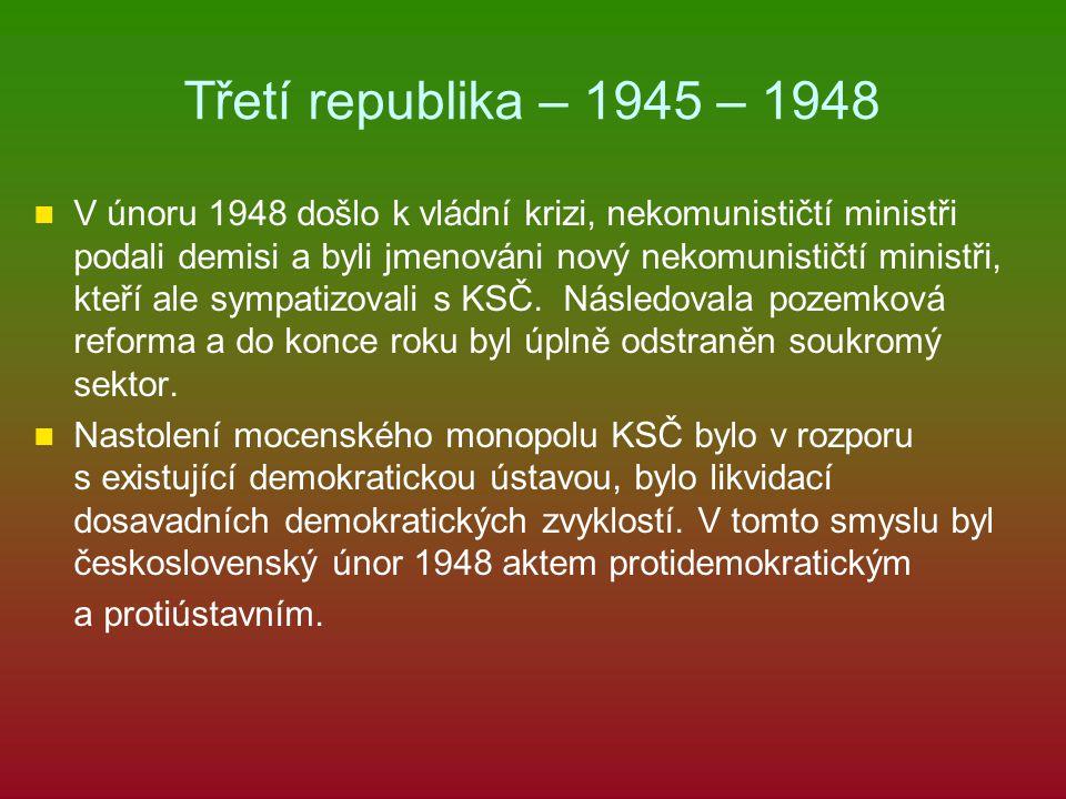 Třetí republika – 1945 – 1948 V únoru 1948 došlo k vládní krizi, nekomunističtí ministři podali demisi a byli jmenováni nový nekomunističtí ministři,
