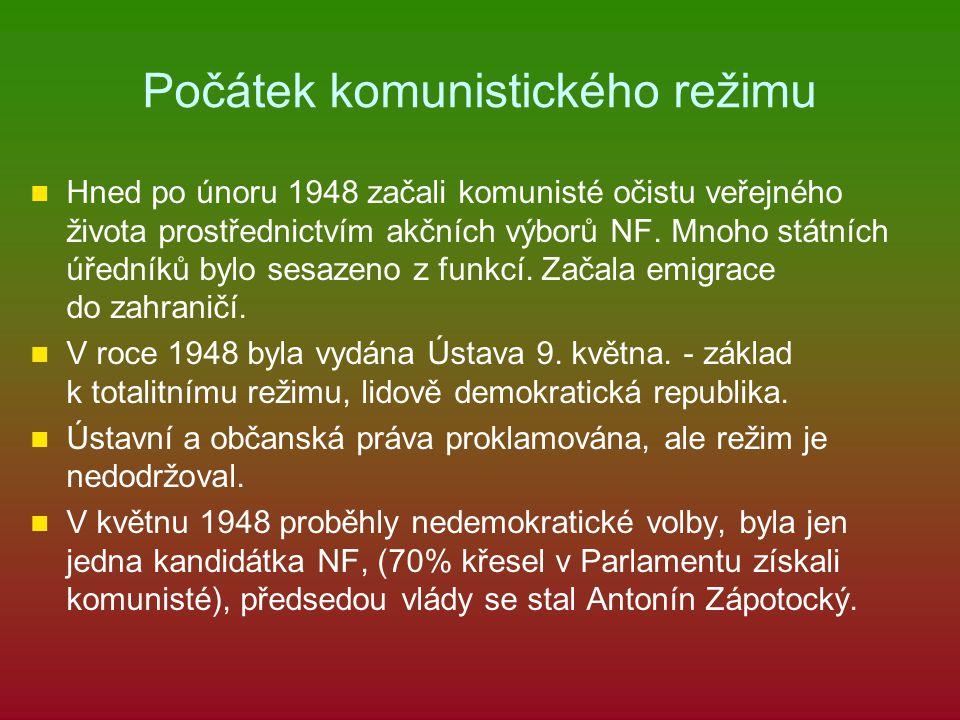 Počátek komunistického režimu Hned po únoru 1948 začali komunisté očistu veřejného života prostřednictvím akčních výborů NF. Mnoho státních úředníků b