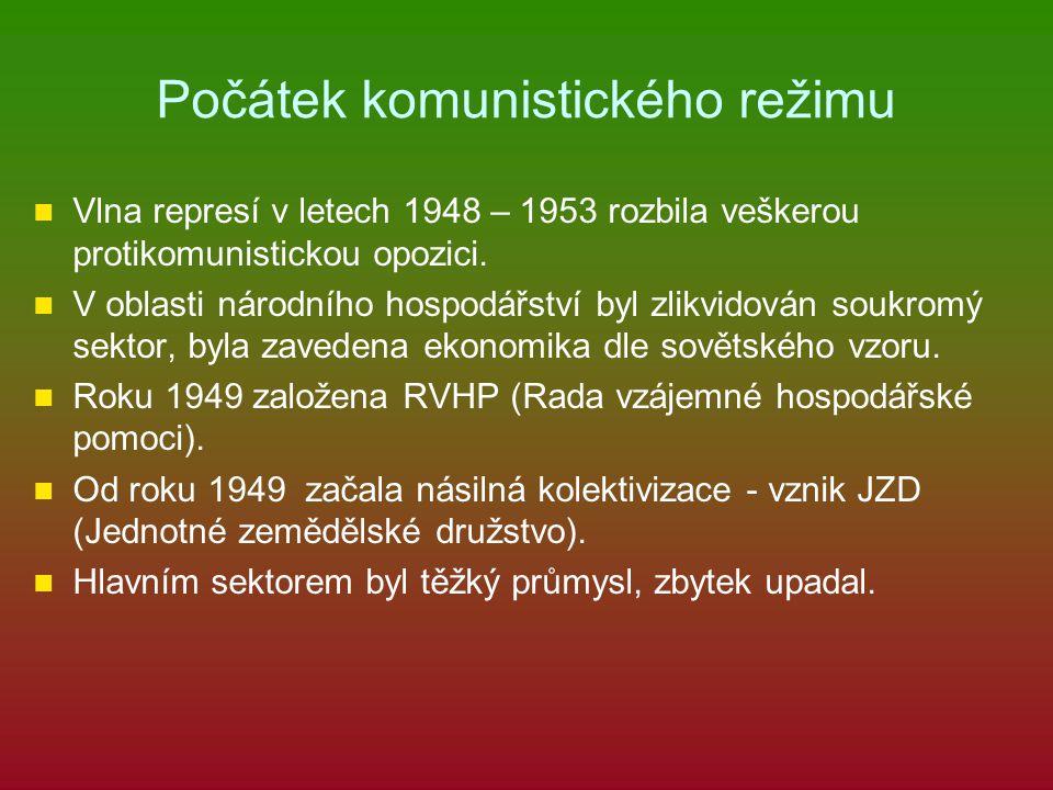Počátek komunistického režimu Vlna represí v letech 1948 – 1953 rozbila veškerou protikomunistickou opozici. V oblasti národního hospodářství byl zlik