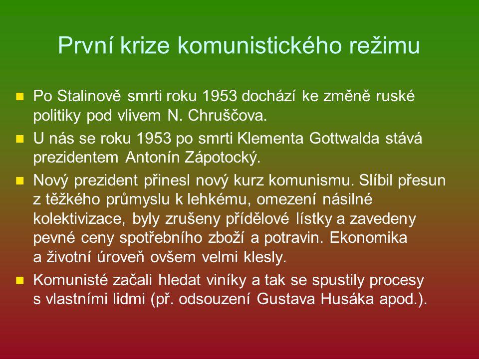 První krize komunistického režimu Po Stalinově smrti roku 1953 dochází ke změně ruské politiky pod vlivem N. Chruščova. U nás se roku 1953 po smrti Kl