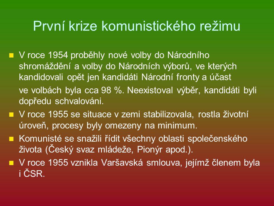 První krize komunistického režimu V roce 1954 proběhly nové volby do Národního shromáždění a volby do Národních výborů, ve kterých kandidovali opět je