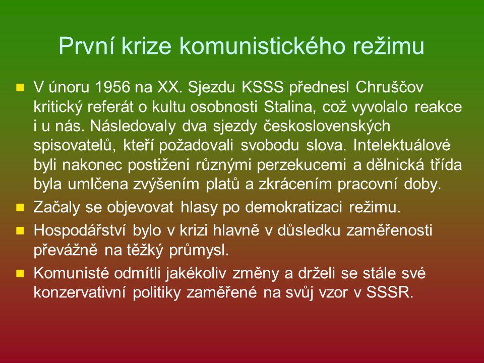 První krize komunistického režimu V únoru 1956 na XX. Sjezdu KSSS přednesl Chruščov kritický referát o kultu osobnosti Stalina, což vyvolalo reakce i