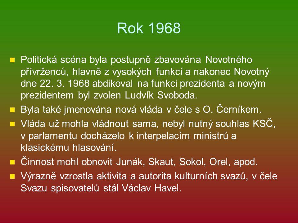 Rok 1968 Politická scéna byla postupně zbavována Novotného přívrženců, hlavně z vysokých funkcí a nakonec Novotný dne 22. 3. 1968 abdikoval na funkci