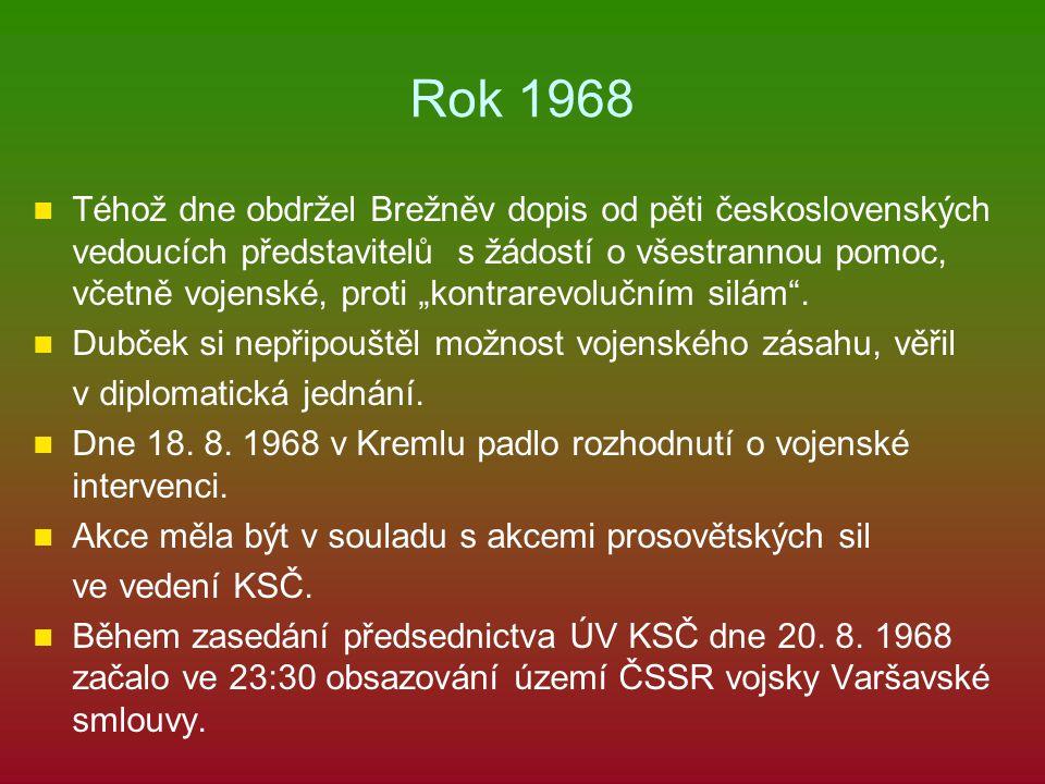 """Rok 1968 Téhož dne obdržel Brežněv dopis od pěti československých vedoucích představitelů s žádostí o všestrannou pomoc, včetně vojenské, proti """"kontr"""