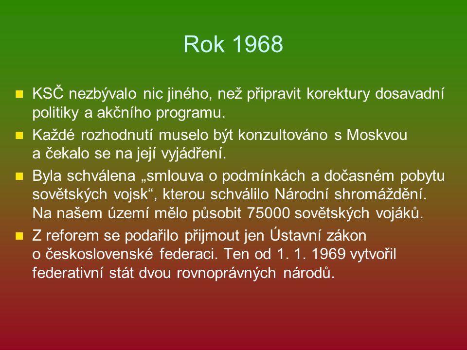 Rok 1968 KSČ nezbývalo nic jiného, než připravit korektury dosavadní politiky a akčního programu. Každé rozhodnutí muselo být konzultováno s Moskvou a