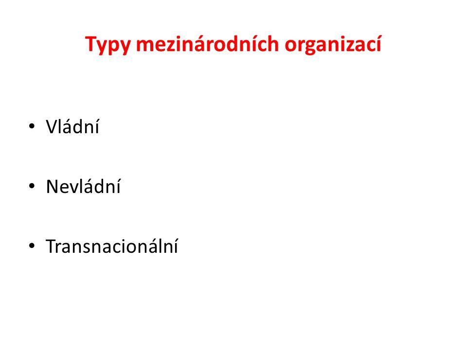 Typy mezinárodních organizací Vládní Nevládní Transnacionální