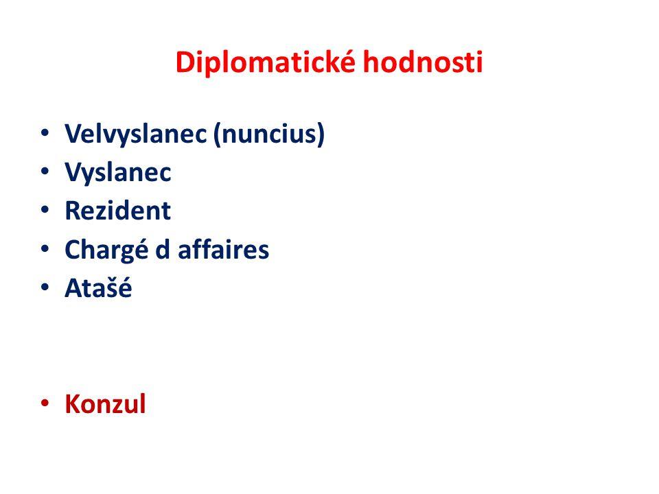 Diplomatické hodnosti Velvyslanec (nuncius) Vyslanec Rezident Chargé d affaires Atašé Konzul