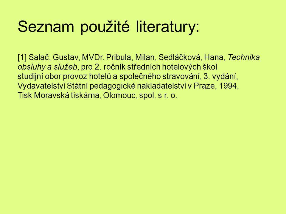 Seznam použité literatury: [1] Salač, Gustav, MVDr. Pribula, Milan, Sedláčková, Hana, Technika obsluhy a služeb, pro 2. ročník středních hotelových šk