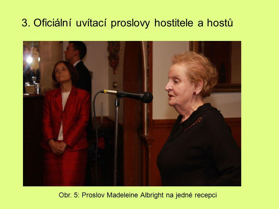 Obr. 5: Proslov Madeleine Albright na jedné recepci 3. Oficiální uvítací proslovy hostitele a hostů