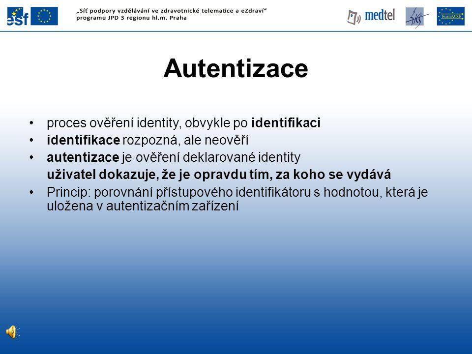 proces ověření identity, obvykle po identifikaci identifikace rozpozná, ale neověří autentizace je ověření deklarované identity uživatel dokazuje, že je opravdu tím, za koho se vydává Princip: porovnání přístupového identifikátoru s hodnotou, která je uložena v autentizačním zařízení Autentizace