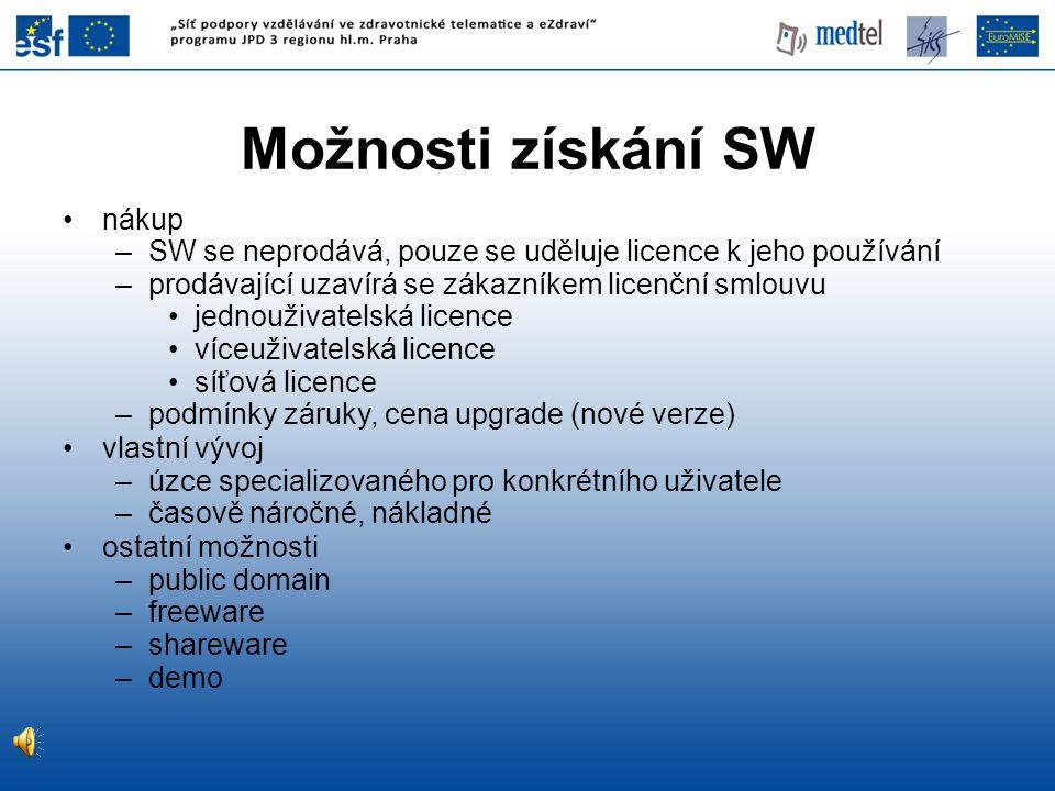 nákup –SW se neprodává, pouze se uděluje licence k jeho používání –prodávající uzavírá se zákazníkem licenční smlouvu jednouživatelská licence víceuživatelská licence síťová licence –podmínky záruky, cena upgrade (nové verze) vlastní vývoj –úzce specializovaného pro konkrétního uživatele –časově náročné, nákladné ostatní možnosti –public domain –freeware –shareware –demo Možnosti získání SW
