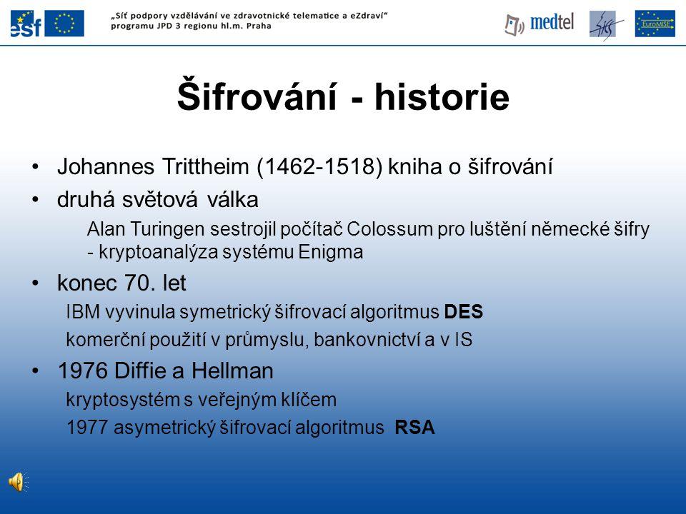 Johannes Trittheim (1462-1518) kniha o šifrování druhá světová válka Alan Turingen sestrojil počítač Colossum pro luštění německé šifry - kryptoanalýza systému Enigma konec 70.