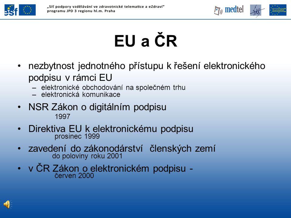 nezbytnost jednotného přístupu k řešení elektronického podpisu v rámci EU –elektronické obchodování na společném trhu –elektronická komunikace NSR Zákon o digitálním podpisu 1997 Direktiva EU k elektronickému podpisu prosinec 1999 zavedení do zákonodárství členských zemí do poloviny roku 2001 v ČR Zákon o elektronickém podpisu - červen 2000 EU a ČR