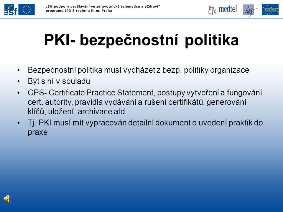 PKI- bezpečnostní politika Bezpečnostní politika musí vycházet z bezp.