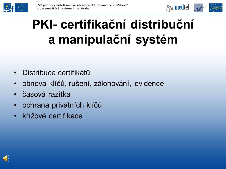 PKI- certifikační distribuční a manipulační systém Distribuce certifikátů obnova klíčů, rušení, zálohování, evidence časová razítka ochrana privátních klíčů křížové certifikace