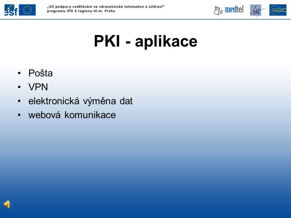 PKI - aplikace Pošta VPN elektronická výměna dat webová komunikace