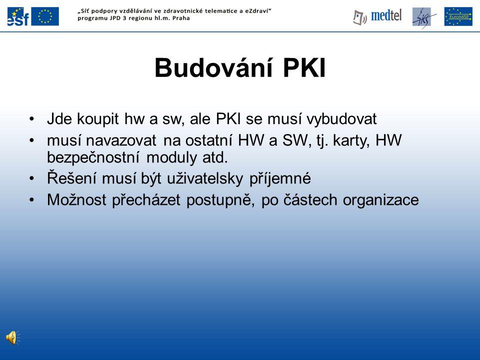 Budování PKI Jde koupit hw a sw, ale PKI se musí vybudovat musí navazovat na ostatní HW a SW, tj.