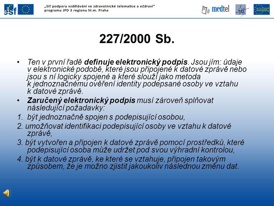 227/2000 Sb.Ten v první řadě definuje elektronický podpis.