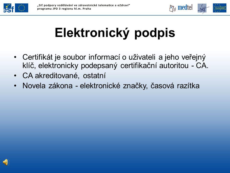 Elektronický podpis Certifikát je soubor informací o uživateli a jeho veřejný klíč, elektronicky podepsaný certifikační autoritou - CA.