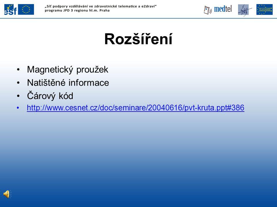 Rozšíření Magnetický proužek Natištěné informace Čárový kód http://www.cesnet.cz/doc/seminare/20040616/pvt-kruta.ppt#386